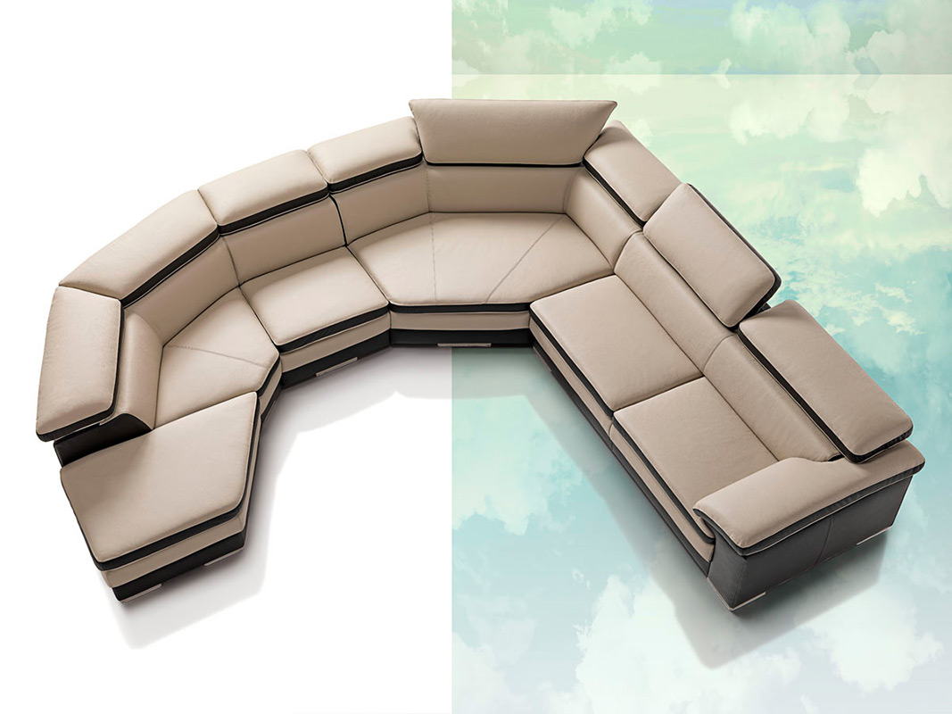 Samoa Contemporary Full Italian Leather Sectional Sofa