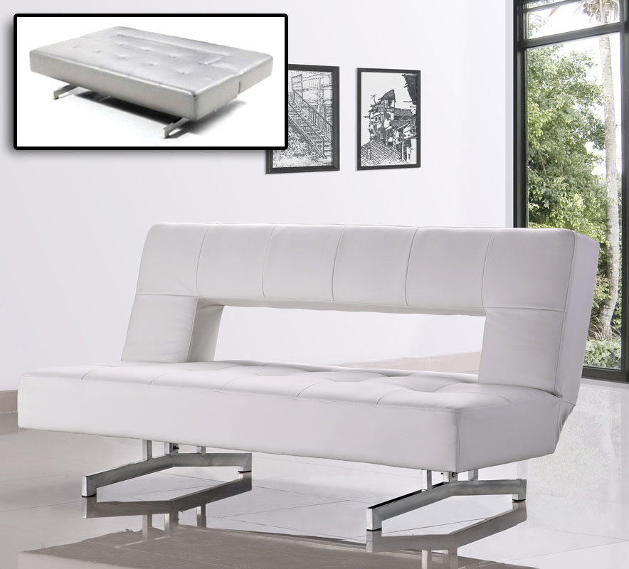 0926 Fold-out Leatherette Sofa Bed