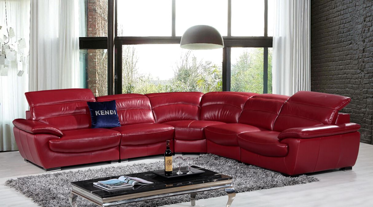 Red leather sectional sofa canada for Red sectional sofa canada