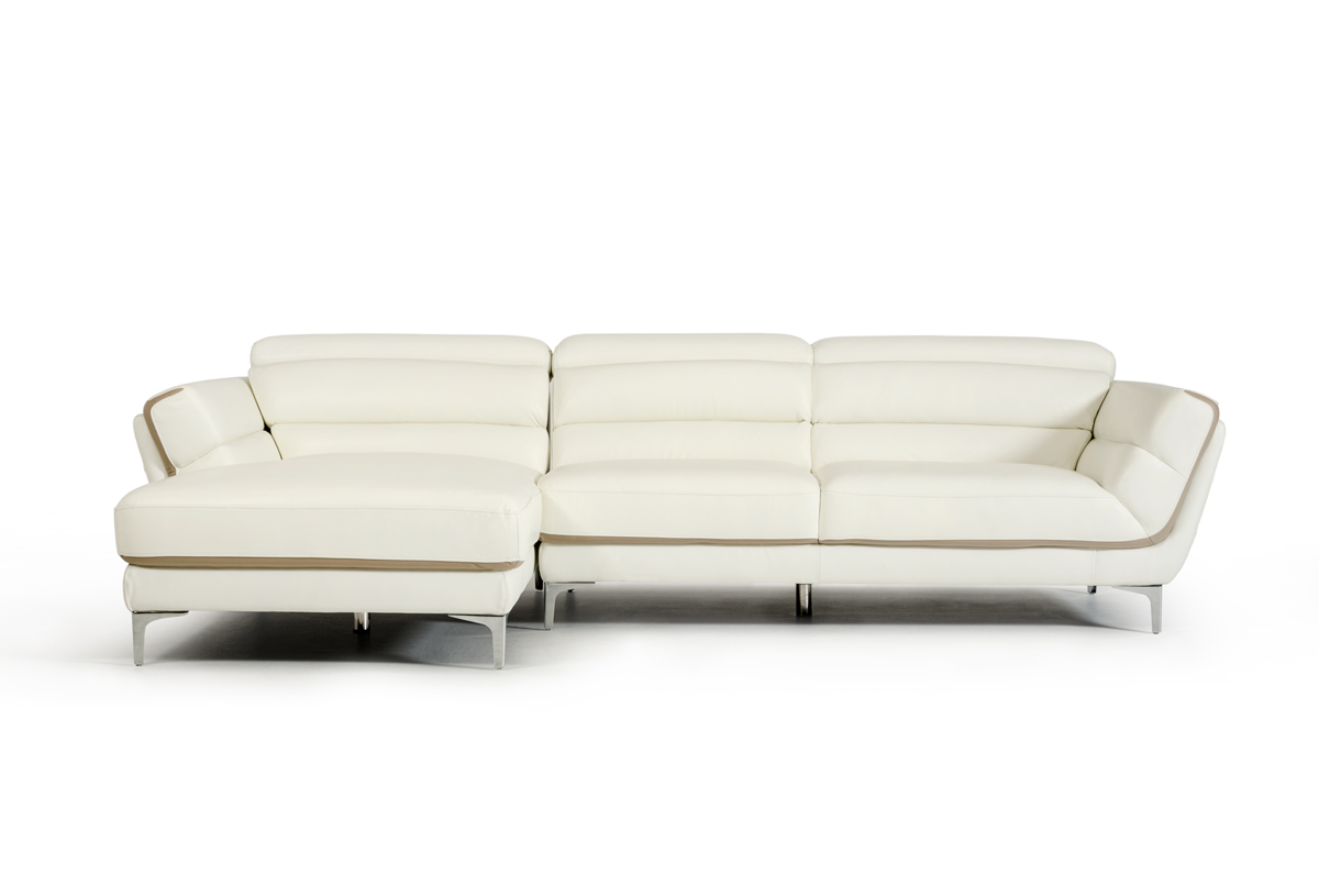 Divani Casa Longford Modern White & Taupe Leather Sectional Sofa