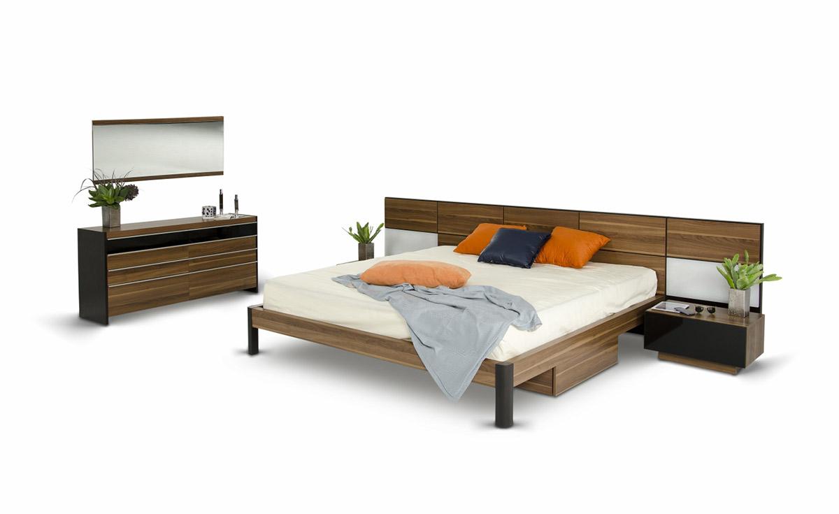Rondo Modern Platform Bed w/ Nightstands Storage And Lights