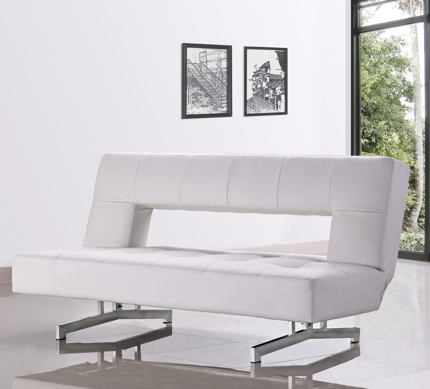 0926 Fold Out White Leatherette Sofa Bed Ebay
