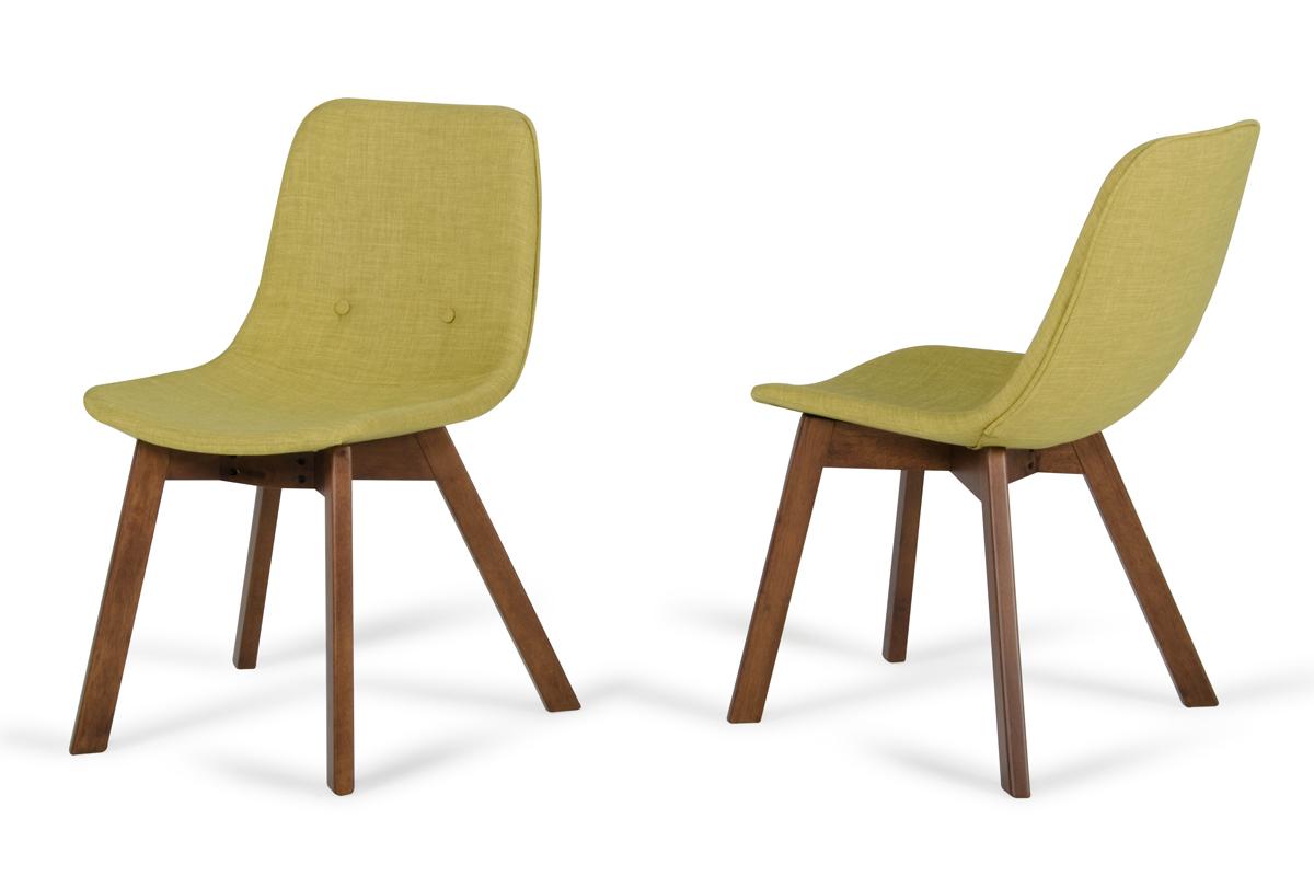Laken Modern Green Tea & Walnut Dining Chair (set Of 2)