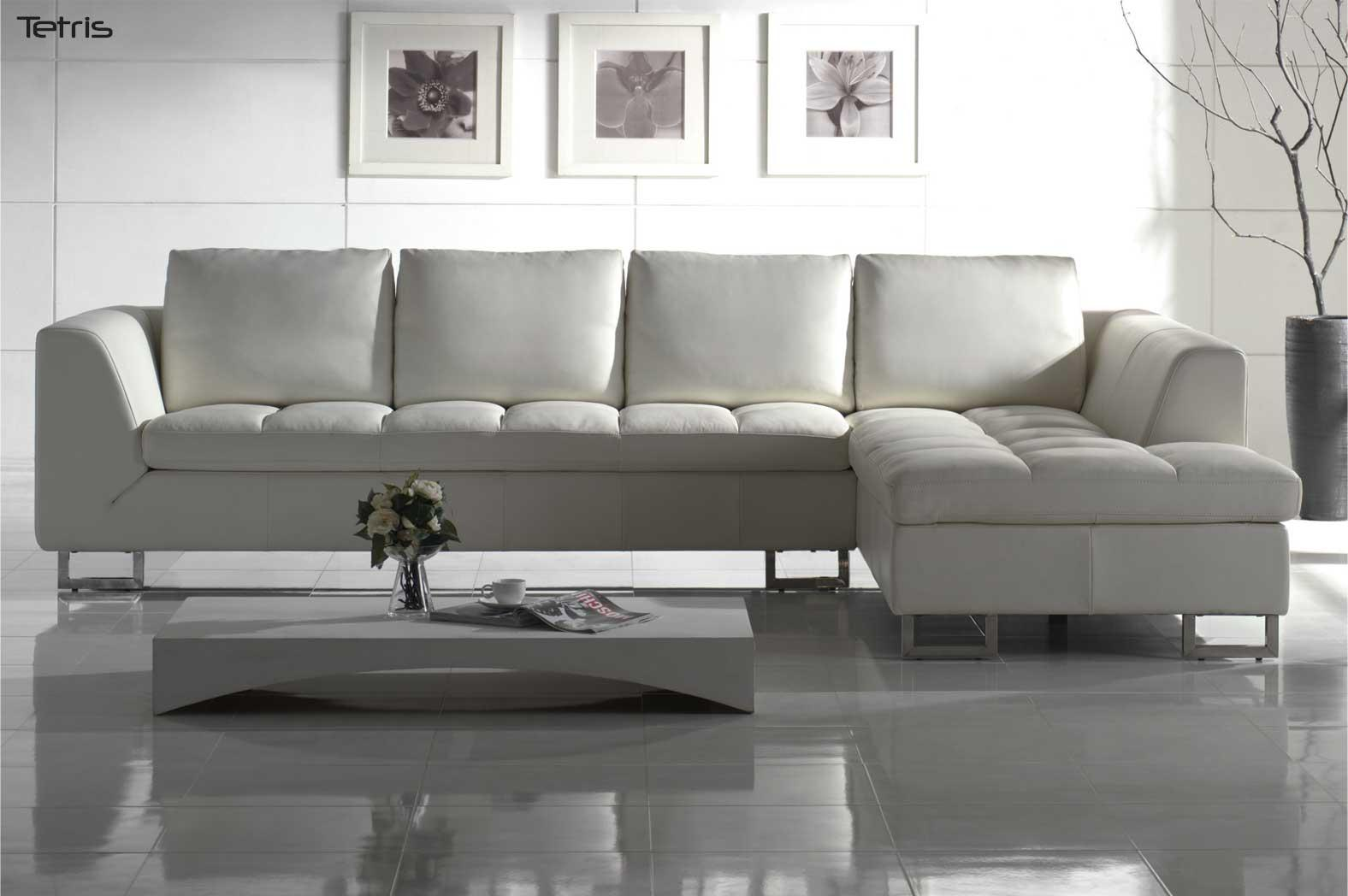 White leather sectional sofa blending contemporary artistry with traditional elegance la Contemporary leather sofa