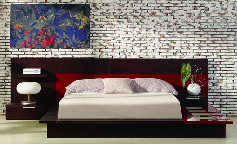 Rimini Contemporary Walk-On Platform Bed with Nightstands