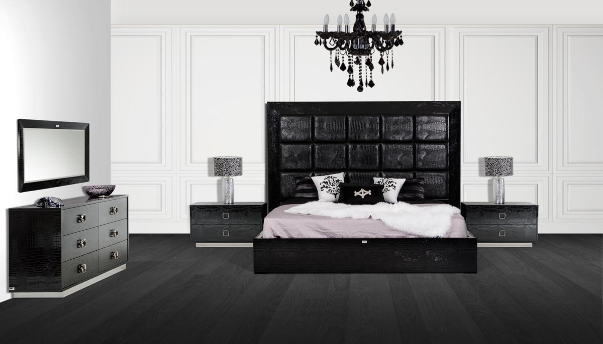 Image of A&X Victoria Modern Black Crocodile Bedroom Set