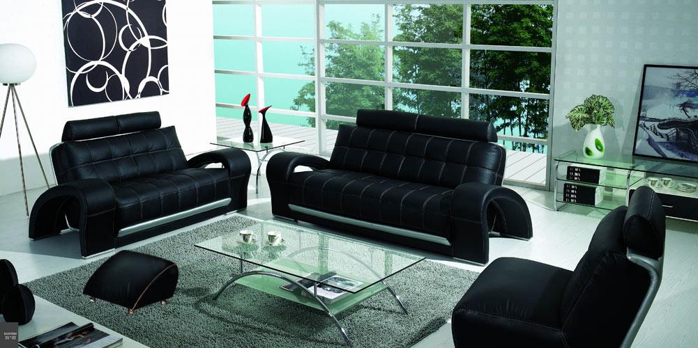 Bentley  Contemporary Black Sofa Set